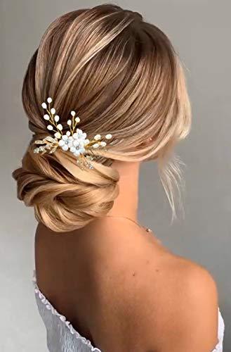 Edary Peines para el pelo de novia con diseño de flor de novia y hojas doradas, accesorios para el pelo para mujeres y niñas