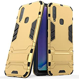 Case For Vivo Y17 / Vivo Y15 / Vivo Y3,Dual Layer Armor Defender Shockproof Protective Hard Case With Stand Full Coverage Back Cover (Color : Gold)