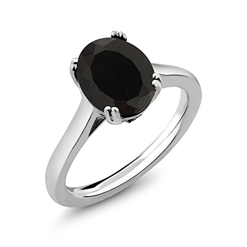 Gem Stone King 925 Sterling Silver Black Onyx and White Created Sapphire Women's Solitaire Ring (3.03 Cttw Oval) (Size 8)