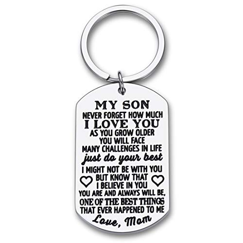 To My Son Christmas Keychain Gifts from Mom Dad Mother To Son Him Teens Stocking Stuffers Adult Men Teenage Boys Kids Birthday Gradation Sweet Sixteen Going To College Guys Males Wedding Gifts Present