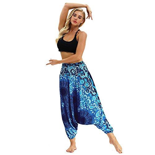 AHUIOPL Leggings Sport Vrouwen Fitness Casual Zomer Losse Yoga Broek Baggy Boho Jumpsuit Harem Broek Elastische Taille Yoga Broek