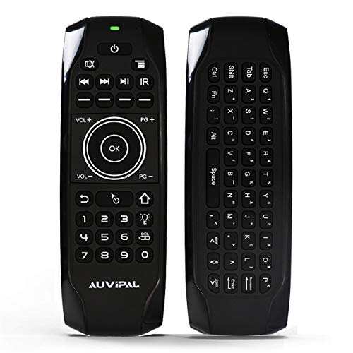 AuviPal G9 Backlit 2.4GHz Wireless Air Mouse Remote with QWERTY Keyboard, 5 Programmable Keys and Build-in Rechargeable Battery for Nvidia Shield, Android TV Box, Kodi, PC, Raspberry Pi, PS4 and More