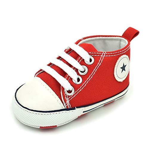 Baby schoenen met kant canvas schoenen voor de eerste keer wandelen schoenen,Rood,13cm