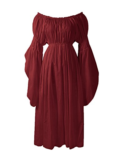ReminisceBoutique Renaissance Medieval Costume Pirate Faire Celtic Chemise Under Dress (Regular, Burgundy)