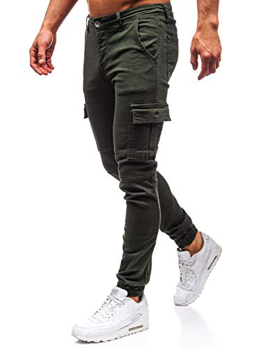 BOLF Herren Hosse Joggerhose Basic Sport Style Street StyleTHE Gangster 2039 Grün 33 [6F6]