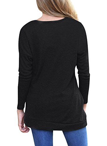 MOLERANI Women's Long Sleeve Scoop Neck Casual Tunic T Shirt Blouse Tops Black L
