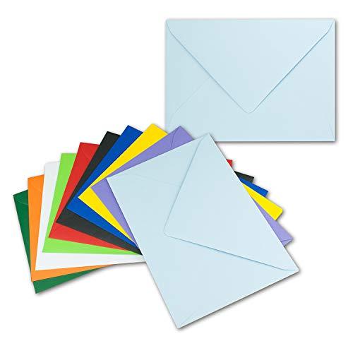 25x farbige Brief-Umschläge gemischt - ca. C5-152 x 218 mm - Bunte Mischung - Haftklebung/Nassklebung - Mit und Ohne Futter - Gustav NEUSER