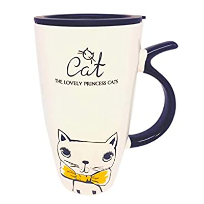 Cute Cat With Yellow Bow Tie Porcelain Travel Mug
