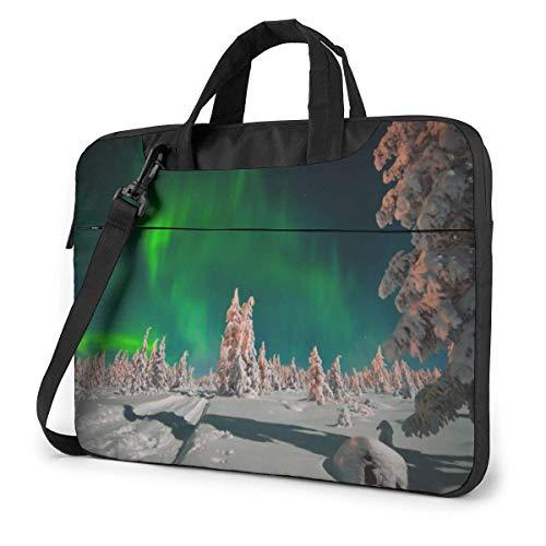 Laptop Shoulder Bag 15.6 Inch, Aurora Over Forest Briefcase Protective Bag
