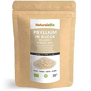Cáscara de Psyllium Ecológico [99% Pureza] 1 Kg. Psyllium Husk, Natural y Puro. 100% cutícula de semillas de Psilio Orgánico, producido en India. Rico en Fibra, para añadir al Agua, Bebidas y Zumos.