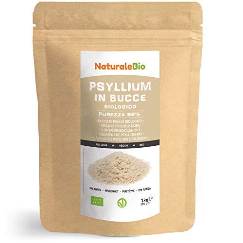 Flohsamenschalen Bio [ 99% Reinheit ] 1 kg. Organic Psyllium Husk. 100% Indishe, naturbelassen und rein. Ballaststoffreich und Vegan, zur Aufnahme in Wasser, Getränken oder Säften. NaturaleBio