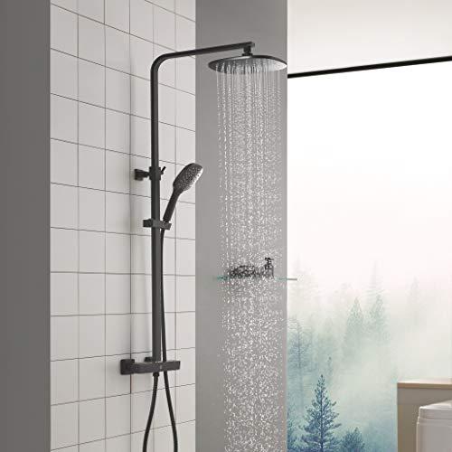 CECIPA Duschsystem mit Thermostat Schwarz Regenduschset, 2 Funktionen mit Überkopfdusche 24x24cm Eckig und 3-Fach Verstellbare Handbrause, Duschset inkl 80-120CM Verstellbare Duschstange für Badzimmer