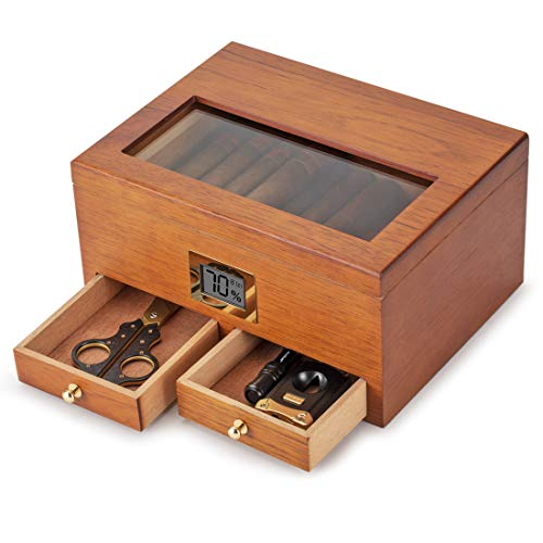 XIFEI Cigar Humidor with High Precision Front Digital Hygrometer Humidifier Gel,All Made by Spanish Cedar Wood (Holds Up to 25-50 Cigars)