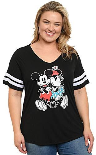 Disney Women Junior Plus Size Mickey & Minnie Mouse V Neck T Shirt (Black, 2X)