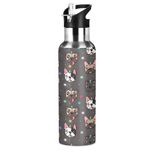 SUABO 20oz Sports Water Bottle, French Bulldog Vacuum Insulated Stainless Steel Water Bottle for Father Boys Girls