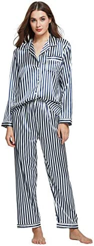 TONY CANDICE Women s Classic Satin Pajama Set Sleepwear Loungewear Blue and White Striped Large product image