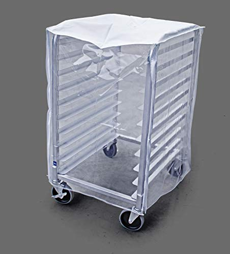 """New Star Foodservice 36534 Commercial-Grade Sheet Pan/Bun Pan Rack Cover, Plastic, 10-Tier, 28"""" L x 23"""" W x 33"""" H, Clear"""