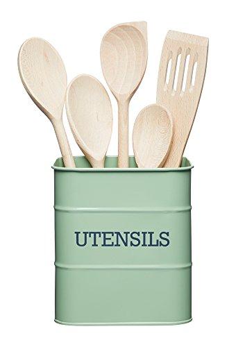 KitchenCraft Living Nostalgia Küchenutensilienhalter aus Metall, Küchen Aufbewahrungsbehälter Schüssel für Holzlöffel, Besteck und Koch- und Backutensilien, 15 x 16 cm – English Sage Green