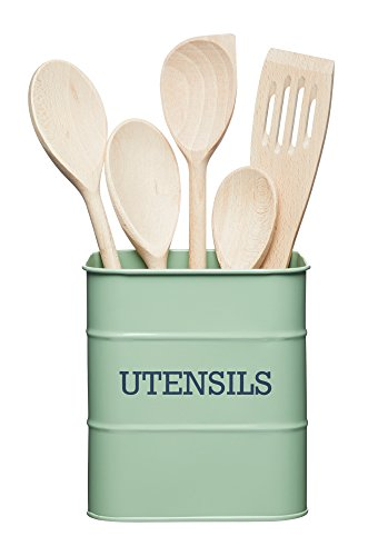 "Kitchencraft Living Nostalgia Kitchen recipiente para utensilios de cocina de metal, 15 x 15 x 16 cm (6 ""x 6\"" x 6,5 \"") – English Sage, acero, verde, 14,5 x 14,5 x 16 cm)"