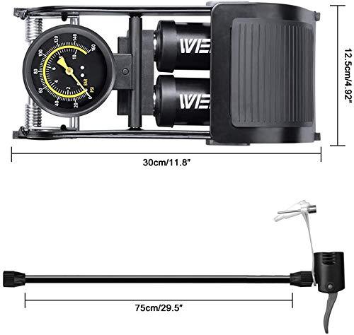 WEIDMAX Double Barrel Foot Pump, Double Cylinder Bike Pump Bike Floor Pump Portable Bicycle Pump Bicycle Tire Pump Road Bike Floor Air Inflator Pump with Pressure Gauge & Smart Valve Head