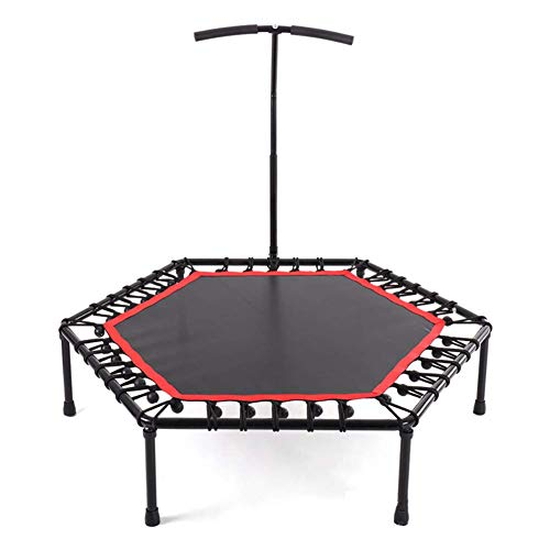 Indoor Mini Exercise Trampoline for Adults With Bar, Best Home Gym for Fitness & Lose Weight Workout Exercise Fitness Bouncer, Si(Rebounder Trampoline) Fitness