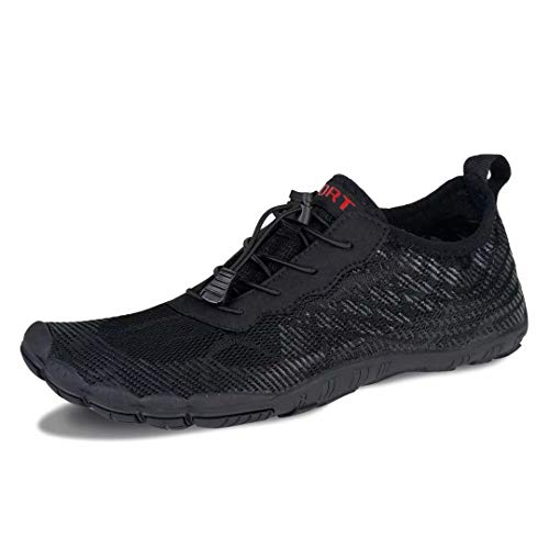 Herren Damen Outdoor Fitnessschuhe Barfußschuhe Trekking Schuhe Badeschuhe Schnell Trocknend rutschfest(Schwarz,9 UK,43 EU)