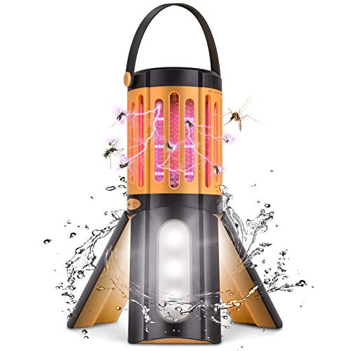 LED Camping Lantern Bug Zapper 2 in 1,Tripod Tent Light with Hook Portable Indoor Outdoor Mosquito Killer Fly Zappers Waterproof Compact UV Insect Trap Lamp