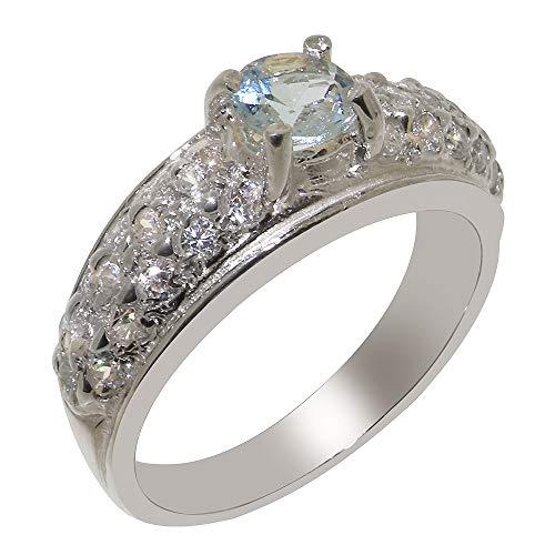 Luxus Damen Ring Solide 9 Karat (375) Weißgold mit Aquamarin und Diamant - Größe 67 (21.3) - Verfügbare Größen : 47 bis 68