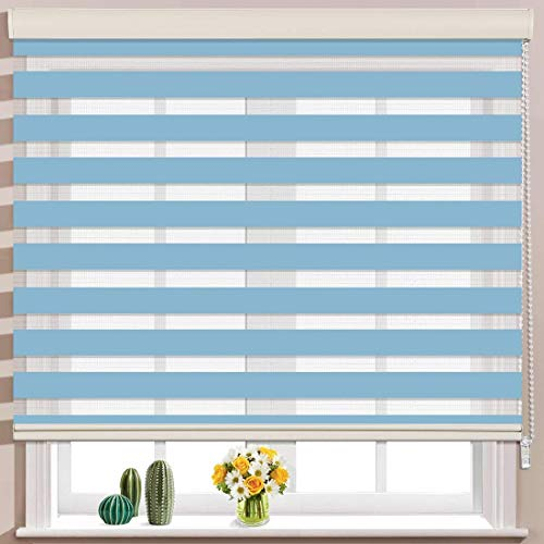 ZEBRA BLINDS Polyester Curtain for Windows or Outdoor Decor (Blue)
