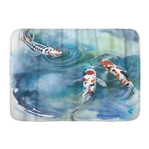 Fußmatten, buntes Koi-Fisch-japanisches Symbol im Teich-Aquarell, Küchenboden-Badteppichmatte Absorbent Innen-Badezimmer-Dekor-Fußmatte rutschfest