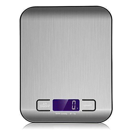 Sonolife - Báscula Digital para Cocina de Acero Inoxidable, 5kg / 11 lbs, Balanza de Alimentos Multifuncional