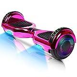 Hoverboard-Hoverboard para niños, aerotabla autoequilibrante de Dos Ruedas de 6.5 Pulgadas, con Bluetooth y Luces Intermitentes LED, Adecuado para niños de 6 a 12 años (Rosa)