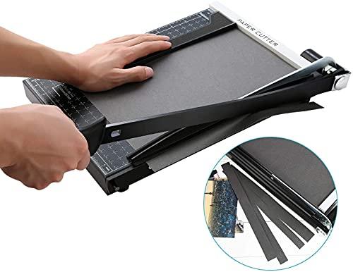 Taglierina per carta A4 con base in metallo, taglierina per foto, taglierina a leva, 340 mm, lunghezza di taglio 12 fogli, per la casa o in ufficio