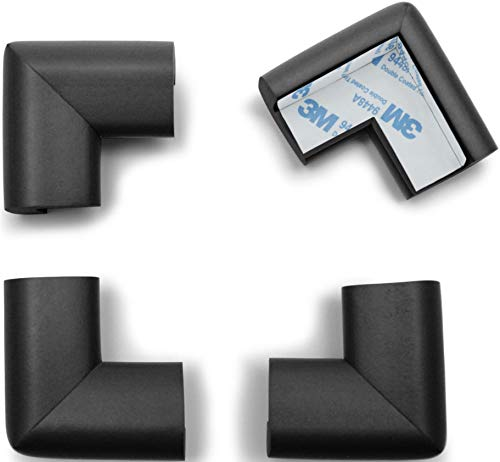 Baby Proofing Corner Guards (4 Pack), ROVING COVE Table Corner Protector, 3M Pre-Taped, Onyx Black, Heavy Duty: Shore A 20-N Density / 0.4-inch Thick