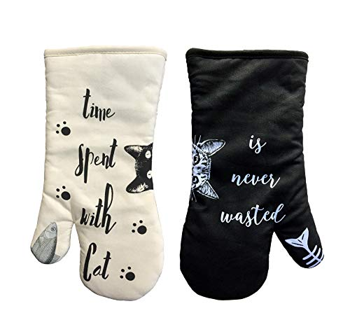 AIYUE Oven Mitts Thick Cotton Kitchen Oven mitt | Funny Cat Oven Gloves with Long Sleeves |...