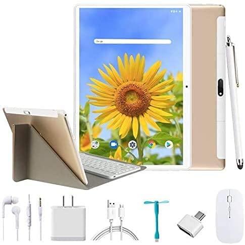 4G Tablet 10 Pollici,Android 9.0 4GB RAM 64GB ROM 128 GB Espansione - Dual SIM Quad core Tablets Con Tastiera Doppia Fotocamera | 8000mAh | WI-FI| Bluetooth | GPS Tablet Con wifi Offerte (d oro 1)