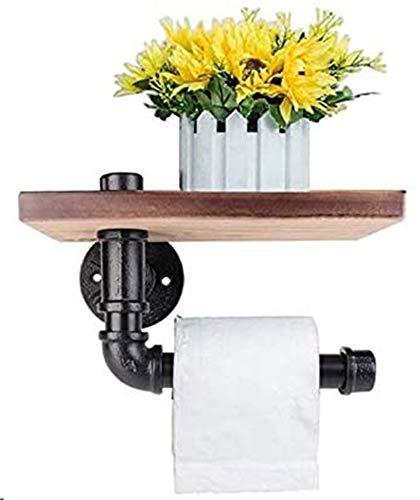 Toilettenpapier-Halter Dekoratives Wandregal DIY Industrial Iron Pipe Wandmontierte Toilettenpapierhalter mit Holzregal für Baddekor