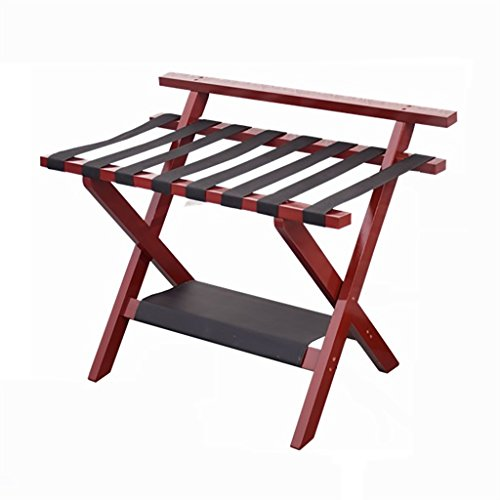 SH-xlj Double Layer Foldable Luggage Rack, Wooden Foldable Suitcase Rack as Luggage Support Stand Tray Stand Suitcase Shelf Backpacks Organiser 80 * 50 * 65CM