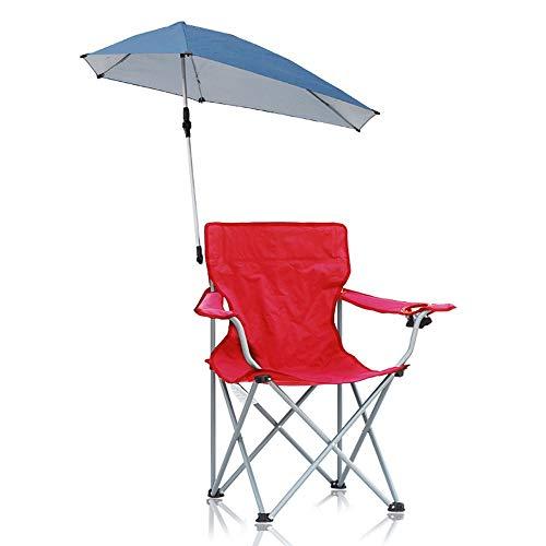 DFMD Klapstoel voor buiten, vrijetijdskleding, visstoel van Oxford-stof met paraplu, draagbaar, voor reizen, strand, zonwering, zwart, blauw, rood