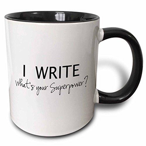 3dRose 194455_4 Superpower-Fun Gift for Writers-Writing Love Mug, 11 oz, Black