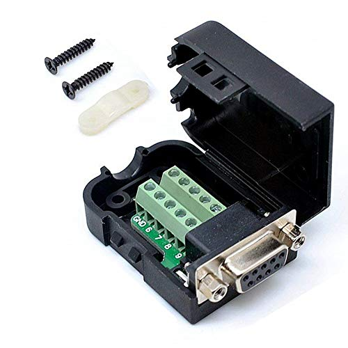 Connector DB9 RS232 D-SUB Female Adapter Serial 9 Pin Port DB9 COB Breakout Terminal Connector Signal Module with Case (Female Connector + Nut)