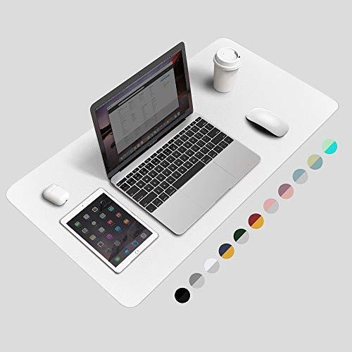 "BUBM Desk Pad Protector Office Desk Mat, Waterproof PU Leather Desk Writing Mat Laptop Large Mouse Pad Desk Blotters Desk Decor for Office Home, 31.5"" x 15.7"" White"