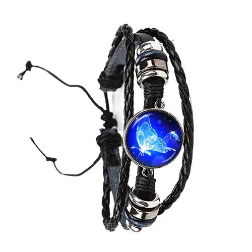 Nueva hermosa mariposa azul ajustable pulsera pájaros arte imagen cristal cabujón cúpula negro/marrón 2 color cueros brazalete
