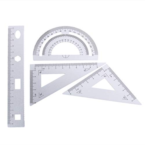 Artibetter 定規 多形定規セット アルミ合金 製図用 DIY オフィス 三角板 学校教育 建築科用 透明幾何図面ルーラー 測定物差し 計量製図用品 4ピース
