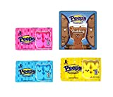 Easter Peeps Marshmallow Variety Pack Including Classic Bunny Shaped Pink, Blue, and Yellow and Chocolate Pudding Flavor Candy for Easter Baskets, Pack of 4