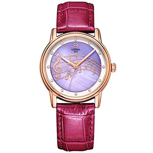 Damen-Armbanduhr, Diamant-Optik, wasserdicht, Lederarmband, Violett