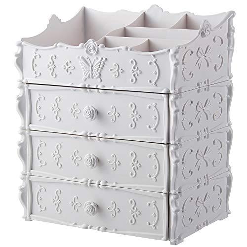 XMSIA Estante Cosmético Estante de Escritorio Multi-Capa Cajón de plástico Caja de cosmética Caja de Almacenamiento cosmético Tocador,Bbedroom,Cuarto de Baño (Color : White, Size : 25.5x17x30.5cm)