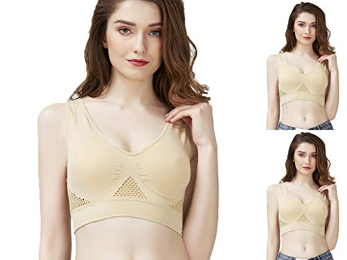 Durcoo Medium Support Sports Bra for Women 3 Pack Push Up Pullover Cotton Bras (3 Nude, XL)