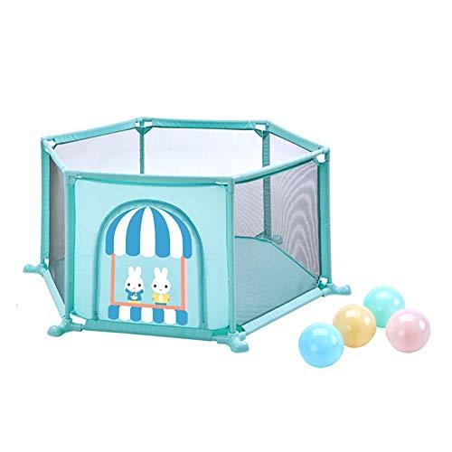 LXDDP Parc d'enfant Hexagon Toddlers Safety avec Parc Boules, Parc pour bébé Play on The Go Anti-Renversement, barrière Jeu pour Centre d'activité anticollision (Couleur: Vert)