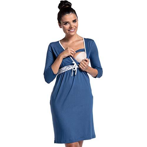 LZJDS Pijama de maternidad para mujer, con costuras de encaje, camisón de lactancia, ropa de dormir de manga larga, vestido de confinamiento, color azul claro, XXL